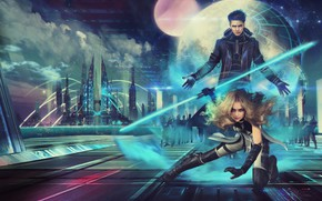 Picture girl, night, the city, fiction, planet, art, blonde, male, neron wars