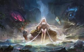 Wallpaper girl, rock, fantasy, game, forest, magic, long hair, water, lake, League of Legends, blonde, digital ...