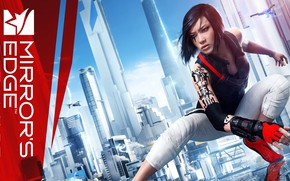 Picture girl, the city, drones, Mirror's Edge Catalyst