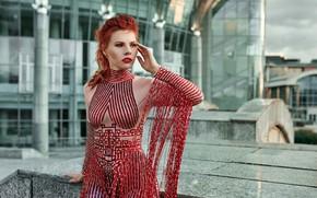 Picture pose, Eugene Marklew, red, hand, outfit, girl, redhead, Natasha Korotovskih