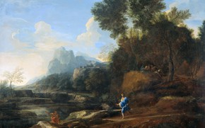 Picture oil, picture, canvas, Italian landscape, 1640, Gaspard Dughet, Gaspard Dughet
