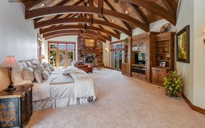 Picture design, style, Villa, interior, fireplace, bedroom, mansion in California