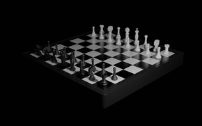Picture the game, minimalism, chess, black background, render