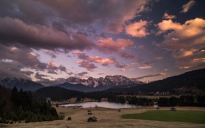 Picture forest, clouds, mountains, the evening, Alps, houses, Alpine village