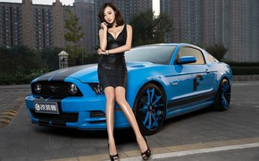 Picture auto, look, Ford, Girls, Asian, beautiful girl, leaning on the car