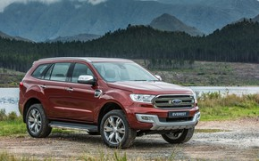 Picture shore, Ford, pond, Everest, Limited, 4WD, 2015