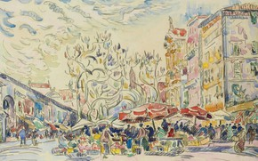 Picture figure, watercolor, the urban landscape, Paul Signac, Paul Signac, Nice. Cours Saleya
