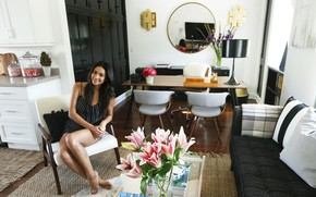 Picture look, girl, flowers, pose, room, sofa, model, mirror, beautiful, Shay Mitchell