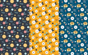 Picture flowers, yellow, retro, pattern, Petals, Seamless