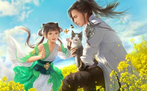Picture cat, cat, flowers, meadow, art, girl, guy, kitty, Green onions Jun