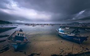 Picture shore, boats, Galicia, The island of Arousa