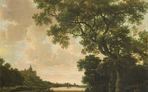 Picture oil, picture, canvas, Joris van der Hagen, 1669, Joris van der Haagen, Landscape with a …