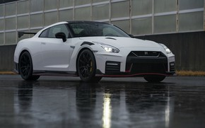 Picture white, water, reflection, Nissan, GT-R, R35, Nismo, 2019