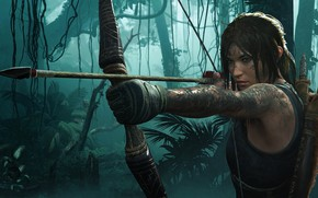 Picture hair, bow, Tomb Raider, Lara Croft, Shadow of the Tomb Raider