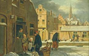 Picture oil, picture, the urban landscape, 1813, City view in Winter, Dirk Jan van der Laan, …