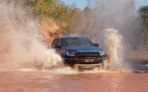 Picture squirt, blue, Ford, Raptor, pickup, pond, 2018, Ranger