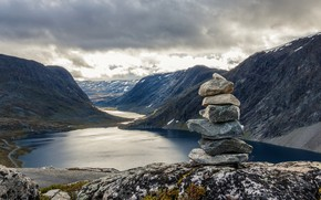 Picture clouds, mountains, lake, river, stones, overcast, rocks, shore, dal, stack, pond, Bank, the fjord, stones, …
