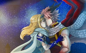Picture romance, Kiss, anime, art, pair, two, Fairy Tail, Natsu, Lucy, Fairy tail