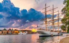 Picture building, home, sailboat, Stockholm, Sweden, promenade, Sweden, Stockholm, Залив Сальтшён, Saltsjön Bay
