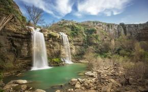 Picture rock, lake, mountain, waterfall