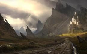 Picture landscape, mountains, castle, landscape