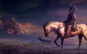 Picture field, animals, art, mountains, rider, horse, digital art, artwork, painting art, woles, Native American