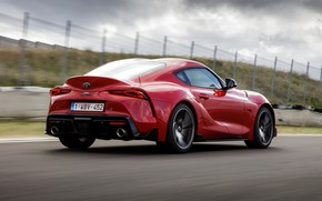 Picture red, clouds, coupe, Toyota, track, Supra, the fifth generation, mk5, double, 2019, GR Above, A90, …