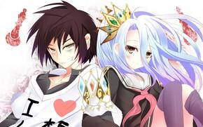 Picture anime, Smile, art, girl, guy, two, No Game No Life, No game no life