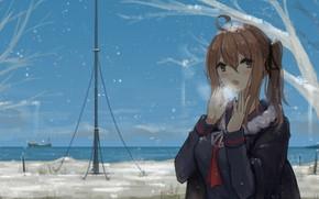 Picture winter, girl, snow, school uniform