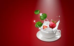 Picture squirt, berries, background, splash, milk, strawberry, Cup