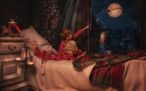 Picture night, children, room, bed, window, Christmas, table, Lisowska Monika