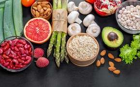 Picture photo, Mushrooms, Food, Nuts, Grapefruit, beans, Asparagus, Avocado, Beans