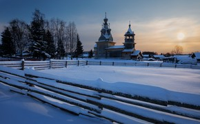 Picture winter, snow, landscape, morning, the fence, Church