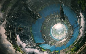 Picture clouds, ships, facilities, the tunnel, Axelay - Tralieb colony interior