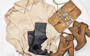 Picture clothing, white background, handbag, shirt, boots