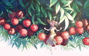 Picture leaves, girl, berries