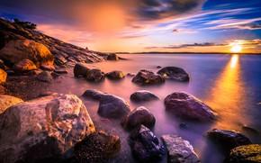 Picture purple, the sky, the sun, clouds, rays, landscape, sunset, nature, lake, stones, paint, shore, color, …