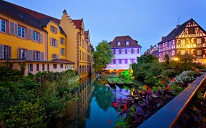 Picture night, the city, France, home, boats, lighting, channel, Colmar