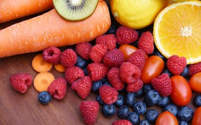 Picture berries, raspberry, Board, kiwi, harvest, blueberries, fruit, vegetables, tomatoes, carrots, a lot, different, tomatoes, vitamins, …