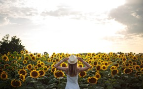 Picture the sky, clouds, sunflowers, pose, Girl, hat, Anna Kovaleva