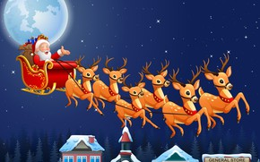 Picture photo, The sky, Night, Stars, The moon, Flight, New year, Deer, Santa Claus, Sleigh, Vector …