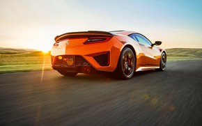 Picture sunset, Honda, rear view, Acura, NSX, 2019