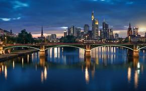 Picture bridge, lights, river, the evening, Germany, skyline, Frankfurt am main