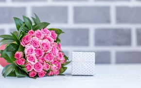 Picture gift, bouquet, beautiful, buds, pink roses