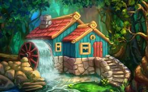Picture forest, figure, art, house, children's, Svetlana Antonova, The cabin in the woods