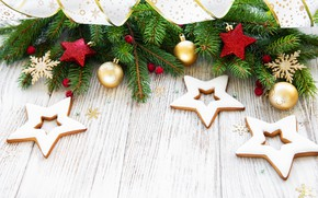 Picture decoration, New Year, Christmas, gifts, christmas, wood, merry, cookies, decoration, gingerbread, gingerbread, gift box, fir …