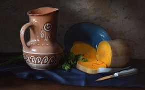Picture greens, table, plate, knife, dishes, pumpkin, pitcher, still life, parsley, tablecloth