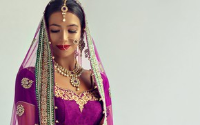 Picture girl, decoration, smile, background, portrait, earrings, necklace, makeup, dress, brunette, hairstyle, outfit, beauty, shawl, Indian