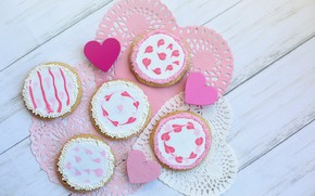 Picture pink, cookies, hearts, heart, wood, pink, sweet, cookie