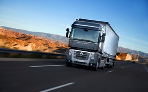 Picture road, movement, black, truck, Renault, Magnum, tractor, 4x2, the trailer, Renault Trucks